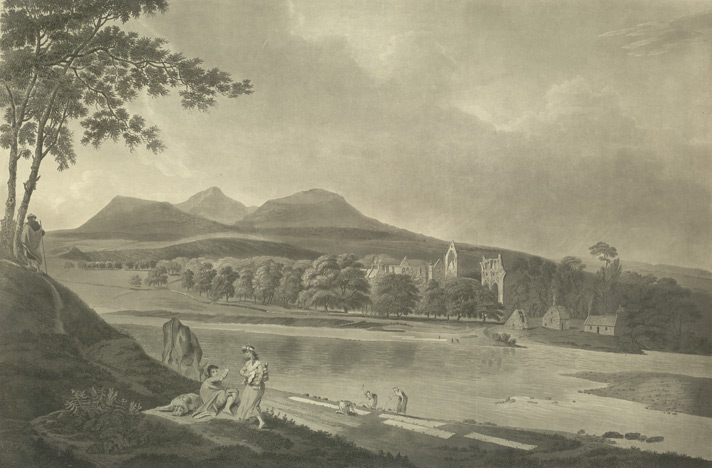 View of Dryburgh Abbey and the Elden Hills 46.2.a